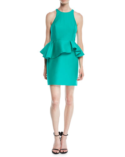 Fitted Halter Dress w/ Peplum Waist