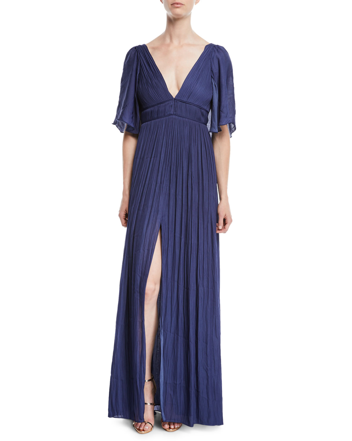 Flowy Gown w/ Capelet & Pleating