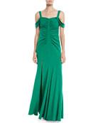 Halston Heritage Cold-Shoulder Ruched Gown
