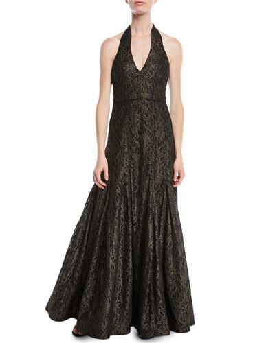 Metallic Lace Halter Gown