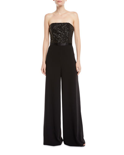 530f6ac39027 Quick Look. Halston Heritage · Strapless Flowy Embellished Jumpsuit