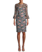 David Meister Floral-Embroidered Lace Trumpet-Sleeve Sheath