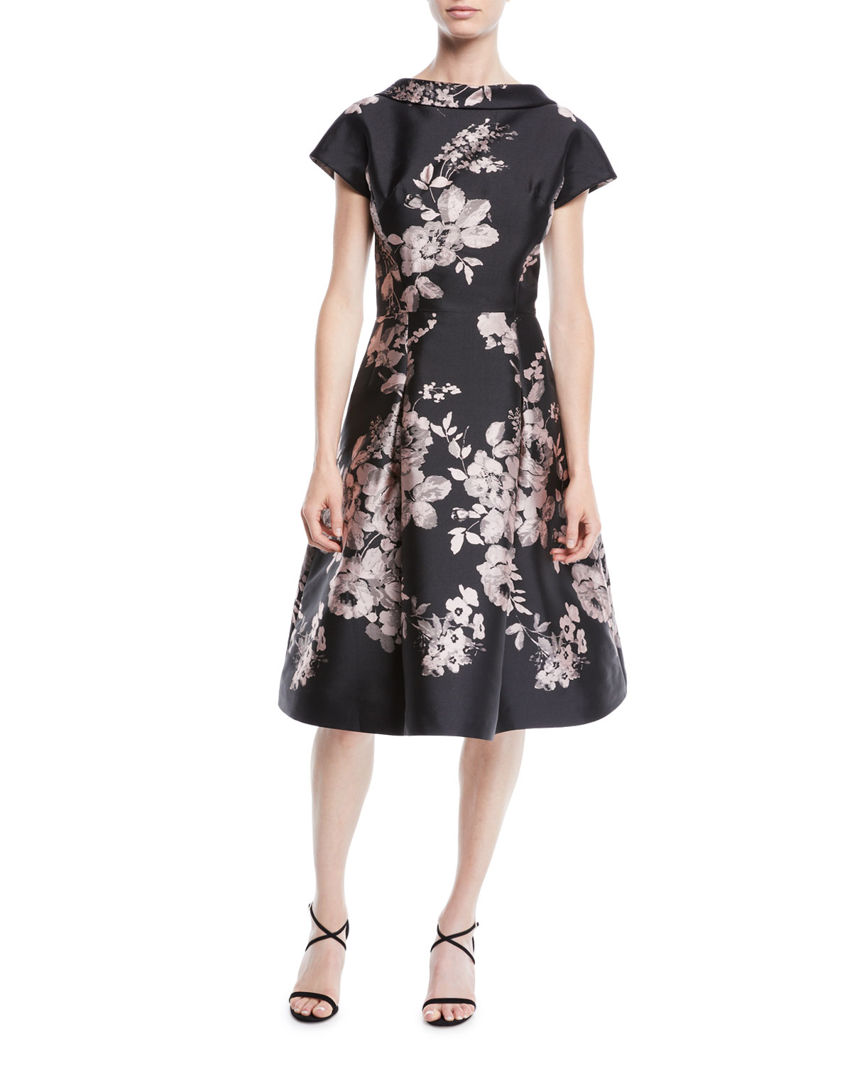 High-Neck Cap-Sleeve Fit-and-Flare Floral-Jacquard Cocktail Dress