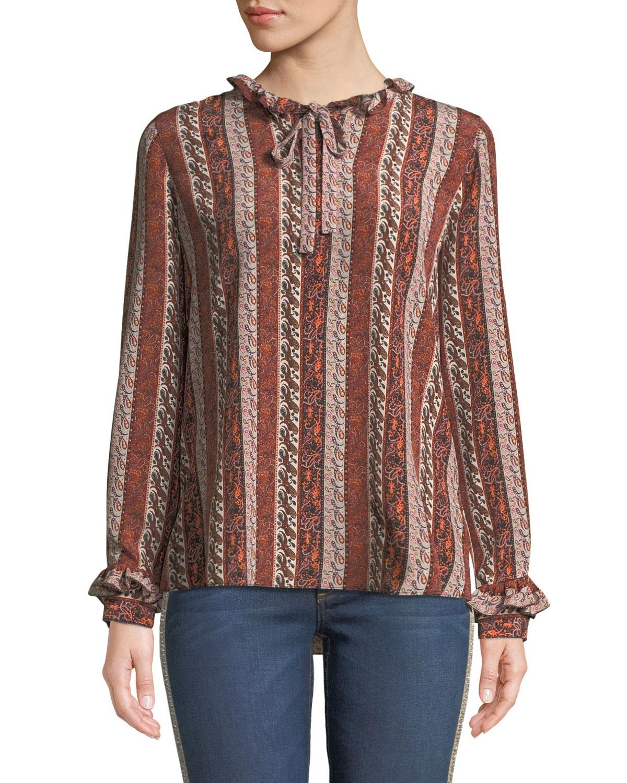 Elyse Paisley Striped Silk Blouse w/ Ruffle Trim