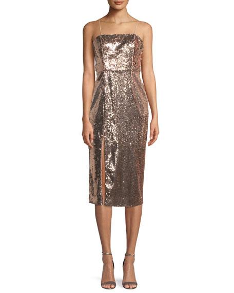 Jay Godfrey Sequin Slip Cocktail Midi Dress w/ Slit