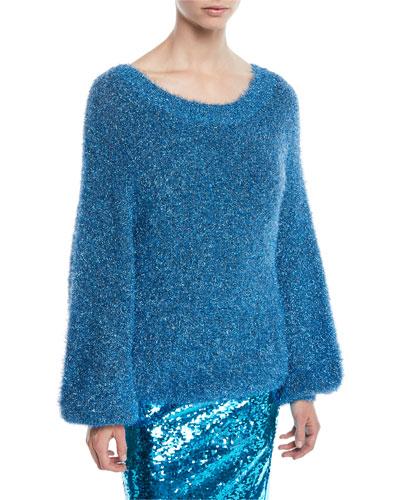 Lisha Boat-Neck Blouson-Sleeve Pullover