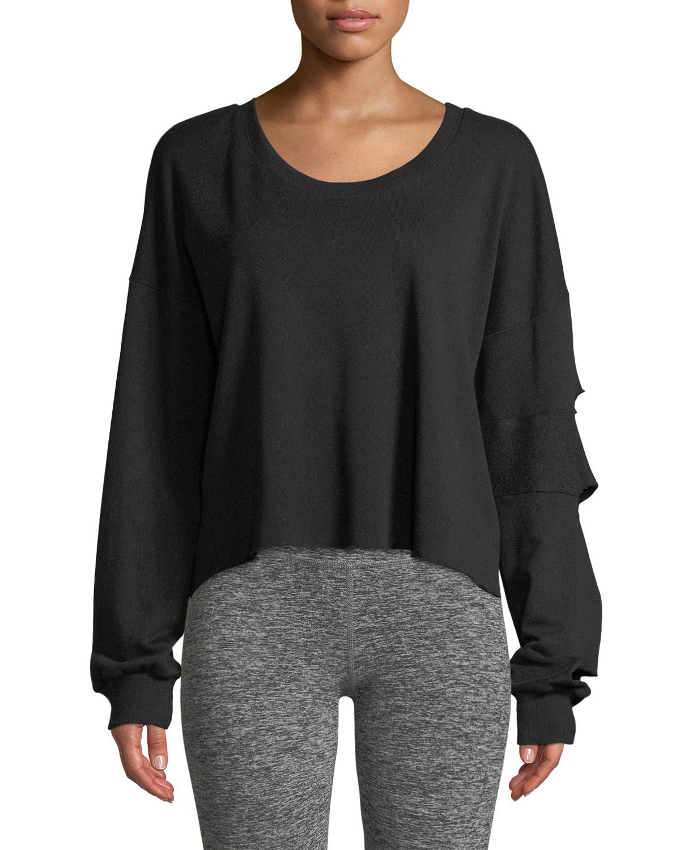 LANSTON Slashed-Sleeve Cropped Pullover Sweatshirt in Black