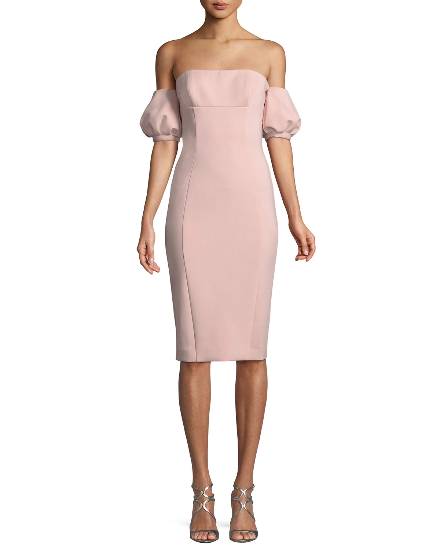 Nala Scuba Dress w/ Puff Sleeves