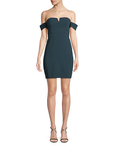 Aidan by Aidan Mattox Off-the-Shoulder Fitted Crepe Mini Cocktail Dress