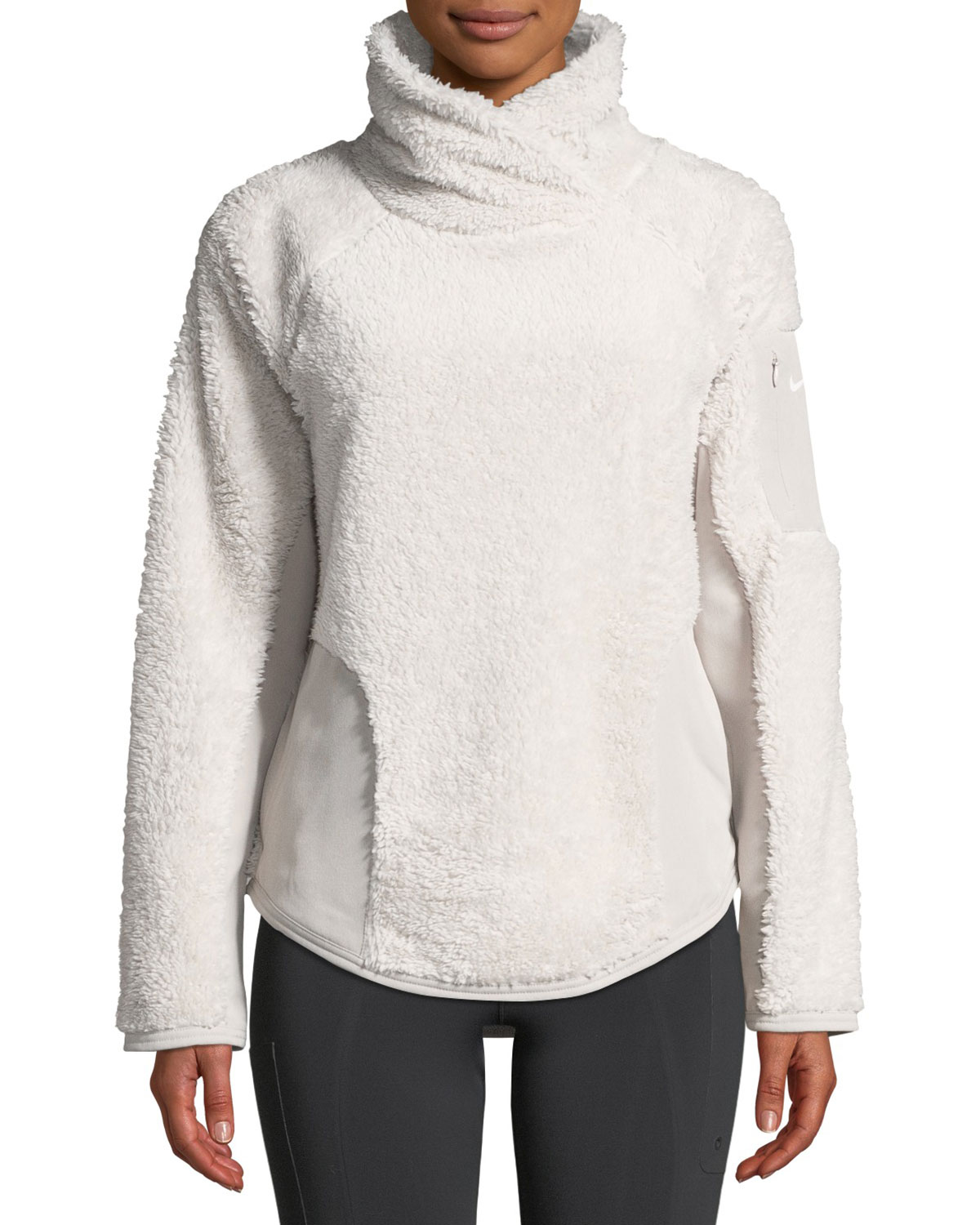 Stand-Collar Sherpa Pullover Active Top in Sand