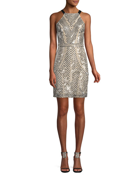 Aidan Mattox Halter-Neck Sleeveless Beaded Paillette Mini Cocktail Dress