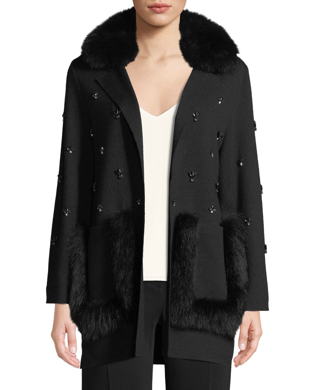 CHRISSIE SWEATER JACKET WITH FUR COLLAR