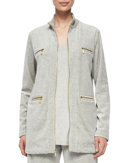 Joan Vass Petite Velour 4-Pocket Long Jacket