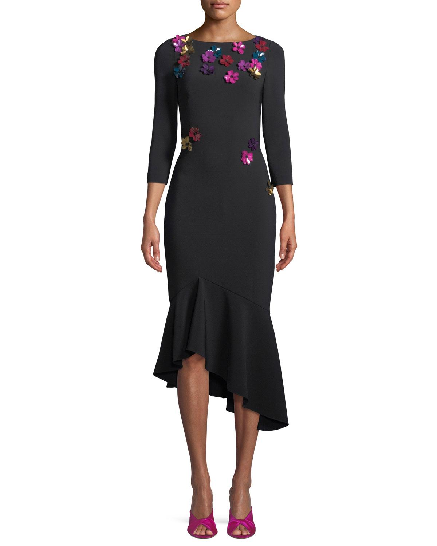 3/4-Sleeve Crepe Cocktail Dress w/ Metallic Sequin Flowers