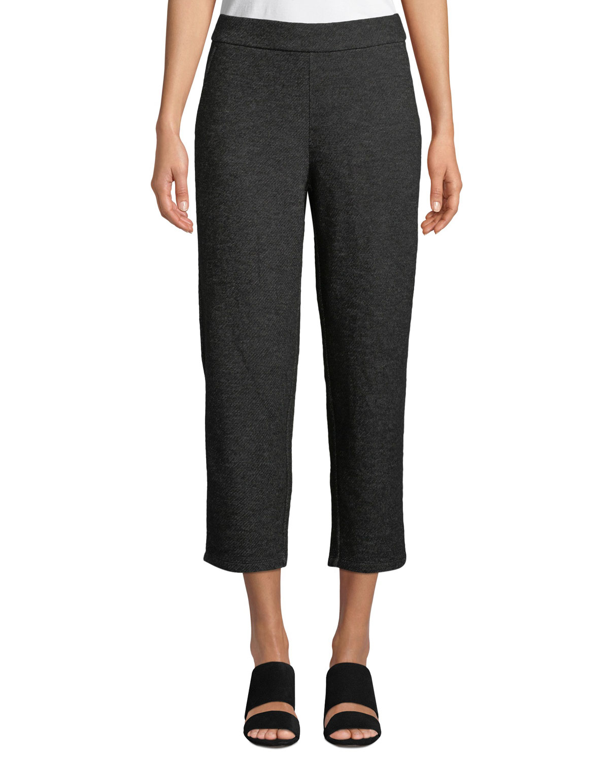 Melange Knitted Twill Wool Crop Pants, Charcoal
