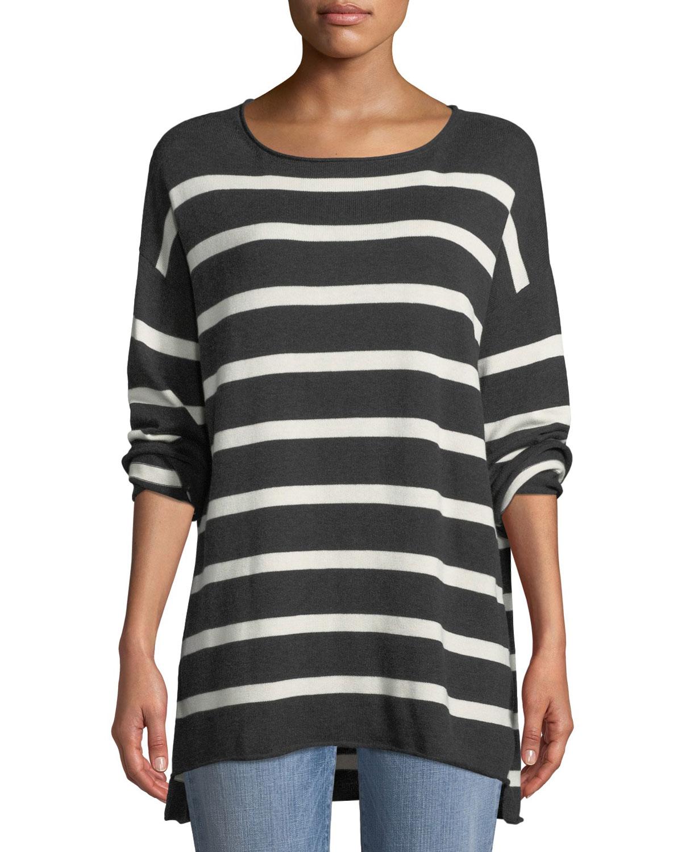Peruvian Cotton Striped Sweater, Plus Size