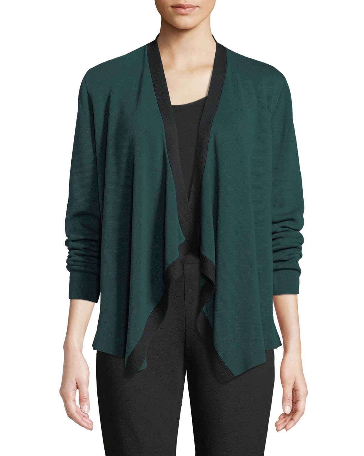 Angled-Front Colorblock Cardigan, Petite