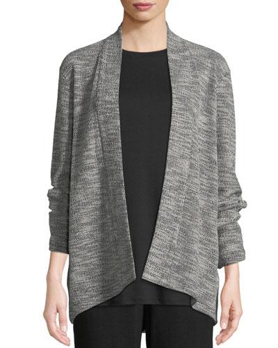 Jacquard Knit Short Eco Cotton Kimono Jacket, Plus Size
