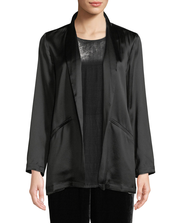 Silk Crepe-Back Satin Blazer, Black
