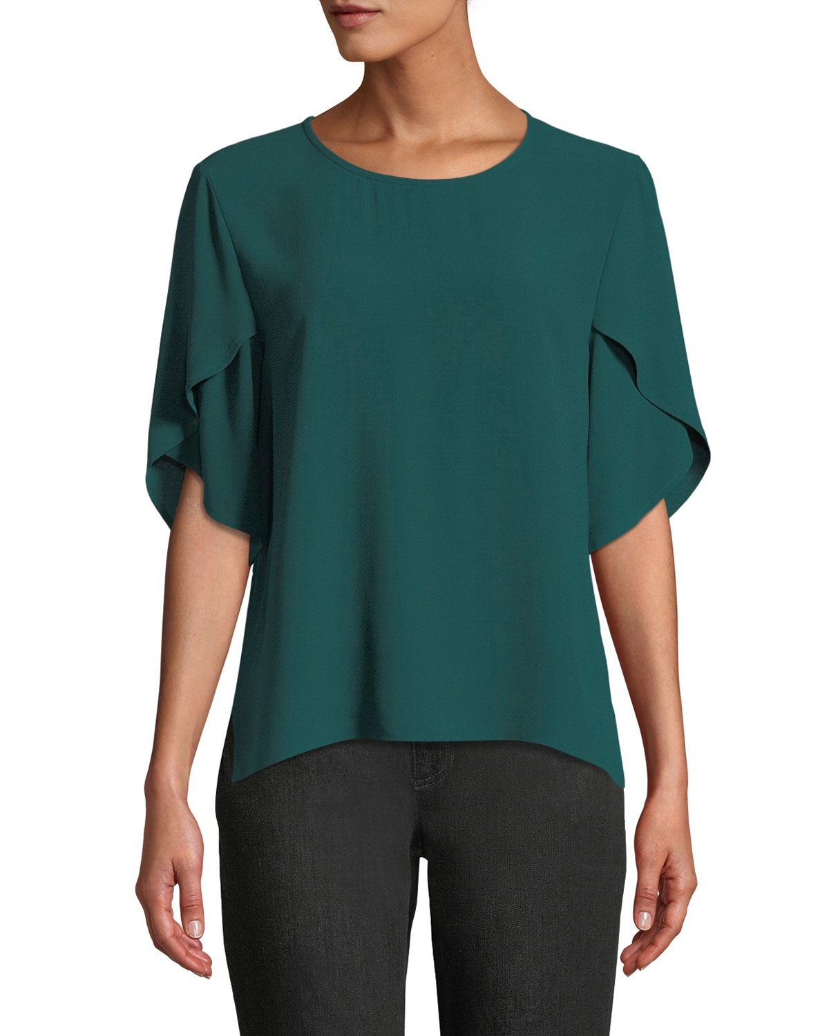 Tulip-Sleeve Silk Georgette Top, Petite