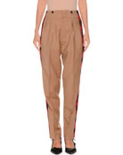 No. 21 Pleated Tapered-Leg Mohair-Blend Trousers w/ Side