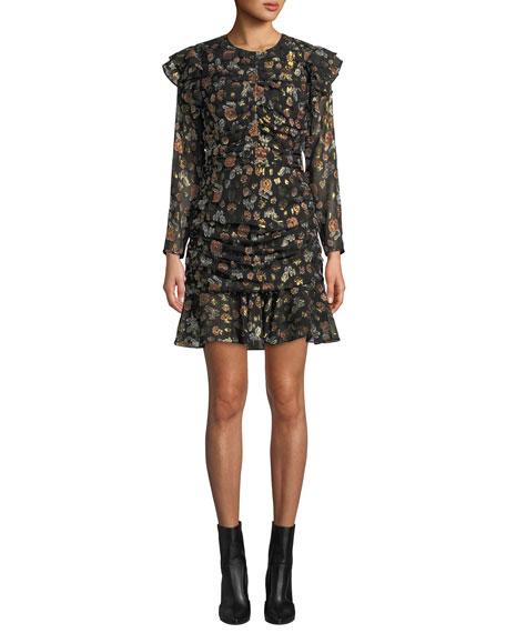Veronica Beard Parc Ruched Floral Ruffle Short Dress