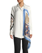 3.1 Phillip Lim Long-Sleeve Patchwork Button-Down Top with