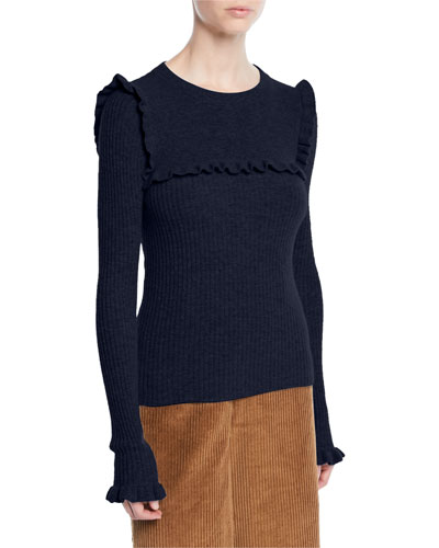 Crewneck Fitted Ribbed Alpaca-Blend Sweater w/ Ruffled Trim