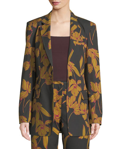 Vernay Floral-Print Wool/Cotton Blazer Jacket