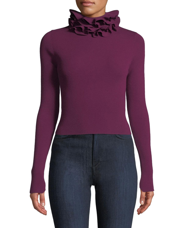Maddox Ribbed Ruffle-Neck Sweater