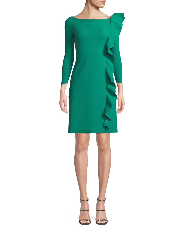 Hea Asymmetric-Ruffle Boat-Neck 3/4-Sleeve A-Line Cocktail Dress