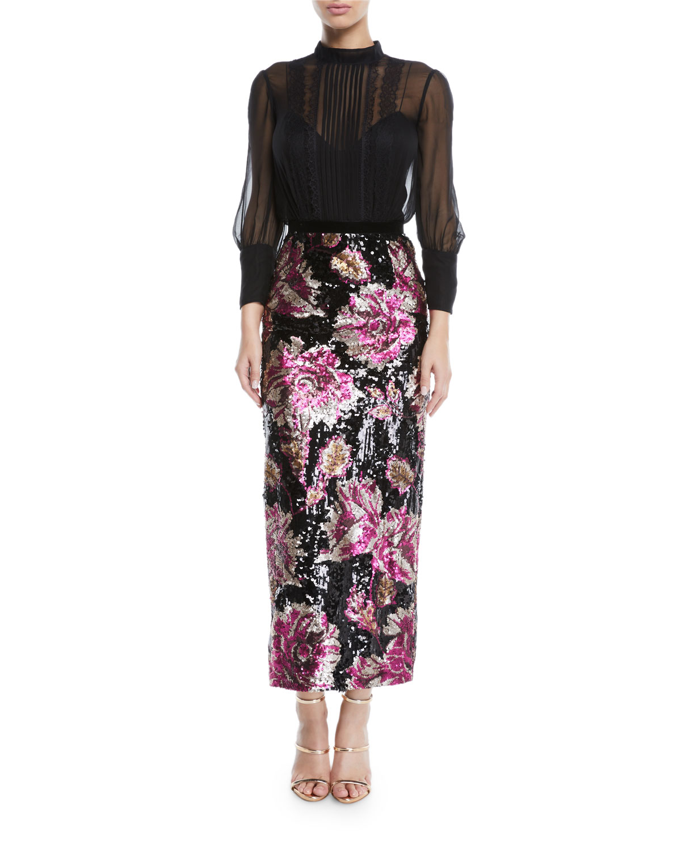 Column Gown w/ Chiffon Bodice & Sequin Skirt