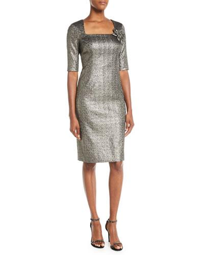 Metallic Jacquard Sheath Dress w/ Flower Detail
