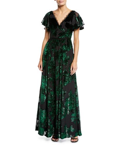 08d4360e Quick Look. Marchesa Notte · V-Neck Velvet Burnout Lace-Trim Gown