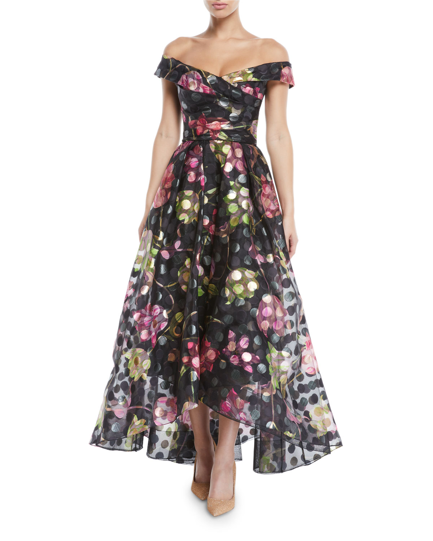Off-the-Shoulder Fil-Coupé Gown w/ Draped Bodice