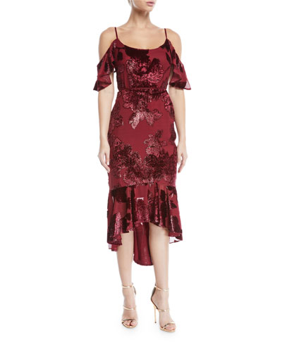 Cold-Shoulder Velvet Burnout Cocktail Dress with Flounce