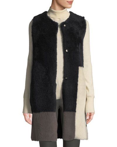 Colorblock Lamb Shearling Long Vest