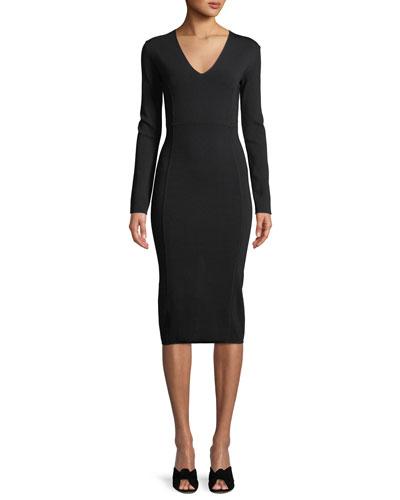 d72b3ae769 Black Long Sleeve Midi Dress