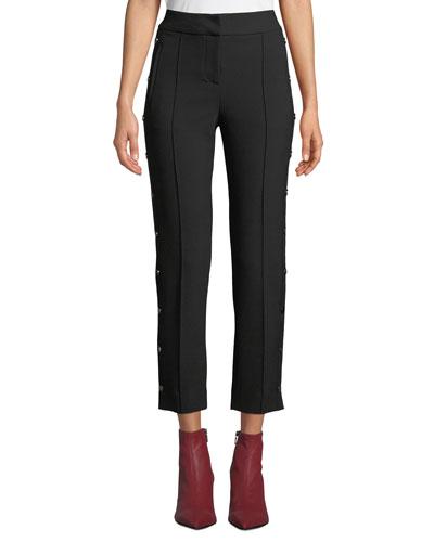 Irving Straight-Leg Snap High-Waist Pants