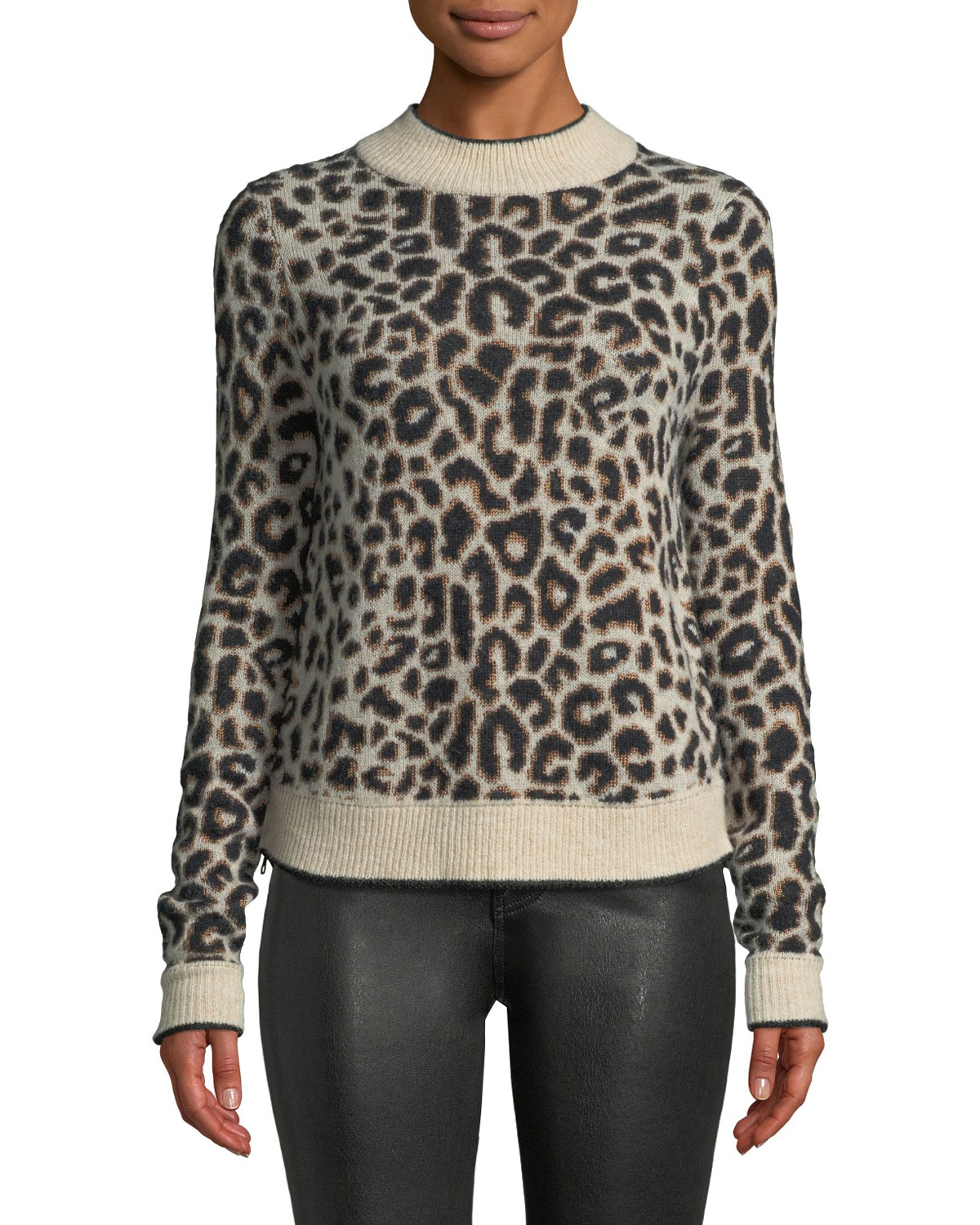 Marly Leopard-Print Crewneck Pullover Sweater, Brown Pattern