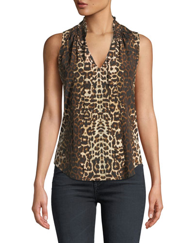 3dffd5aa199469 Quick Look. Veronica Beard · Bertrand Leopard-Print Sleeveless Blouse
