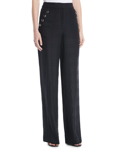 Tuli High-Rise Check Straight-Leg Pants