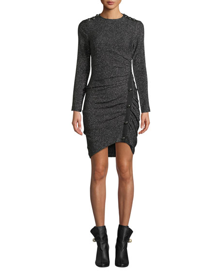 Veronica Beard Ira Ruched Tweed Metallic Dress