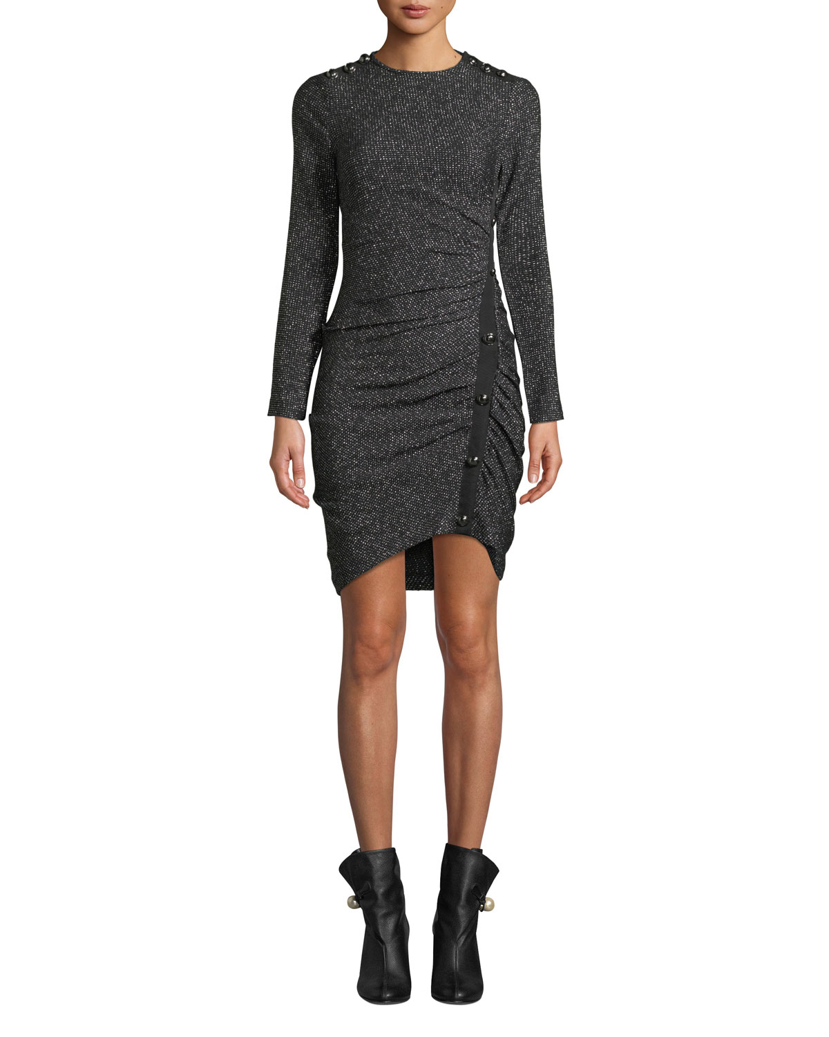 Ira Ruched Tweed Metallic Dress in Silver