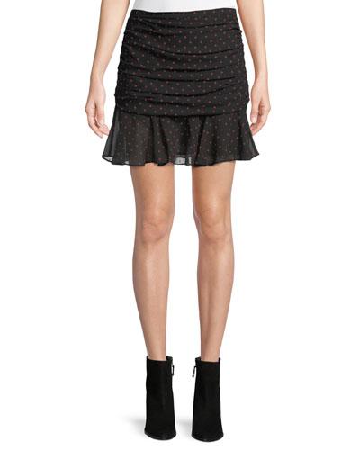 Millie Ruched Dot-Print Silk Georgette Mini Skirt