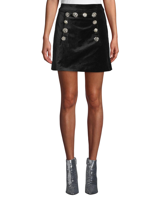 Ording Crystal Button Velvet Miniskirt in Black