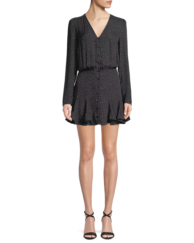 VERONICA BEARD Riggins Button-Front Flounce Mini Dress in Black Multi