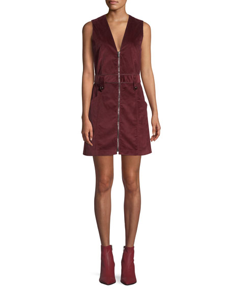 Veronica Beard Orial Short Zip-Front Corduroy Dress