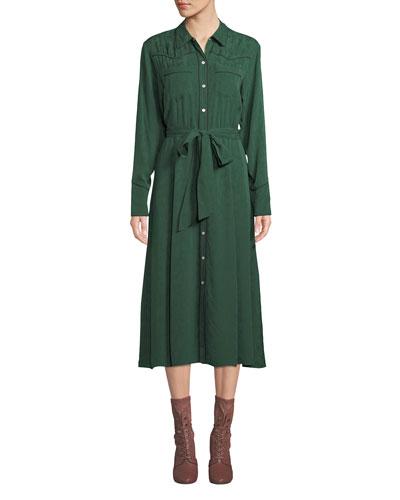 Spur Silk Jacquard Long-Sleeve Shirtdress