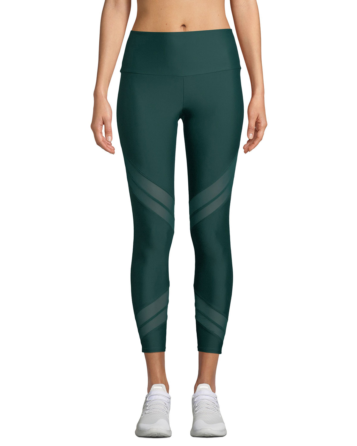 Sporty Mesh-Inset Activewear Leggings